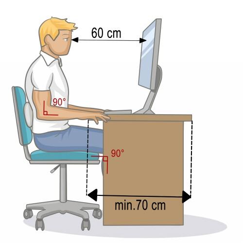 60 cm de l'écran d'ordinateur. 90° dos droit et jambes.